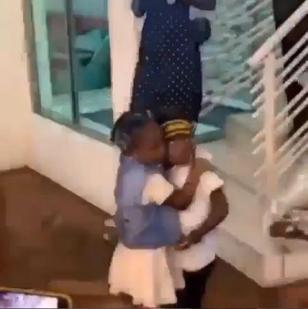 Davido's Daughter, Imade Gives Tiwa Savage's Son, Jamil A Hug On His Birthday (Photos)