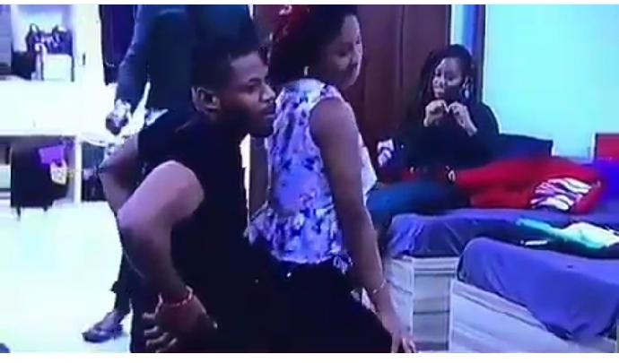 #BBNaija: Esther Kisses Frodd And Gives Him Lap Dance (Photos)