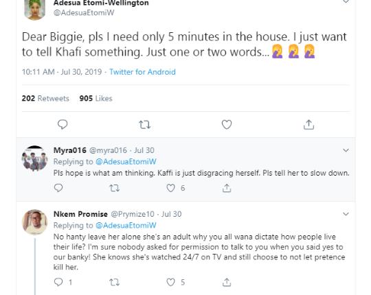 'I Need Five Minutes With Khafi in BBNaija House' — Adesua Etomi