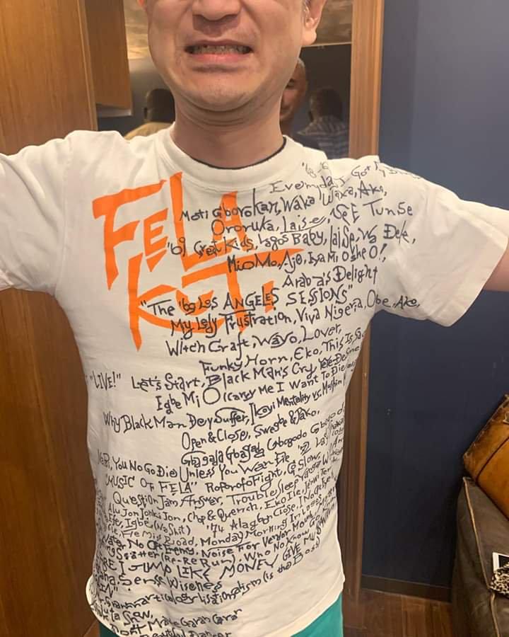 Japanese Fela Fan Writes All The Titles Of Fela's Songs On His Shirt (Photos)