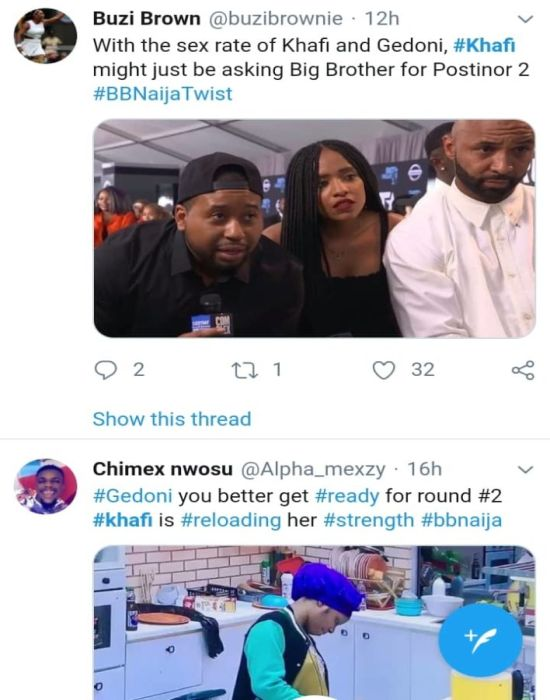 #BBNaija: 'Khafi The Sex Addict' Trends On Twitter, Nigerians React (See Reactions) 13