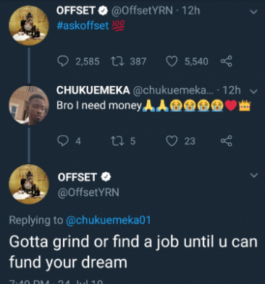 See Offset's Reply To Igbo Guy Who Begged Him For Money