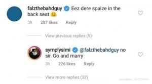 'Go and marry' – Simi trolls Falz on Instagram