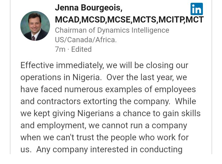 """We Can't Trust Nigerians Working For Us"": Global Company Closes Operations In Nigeria"