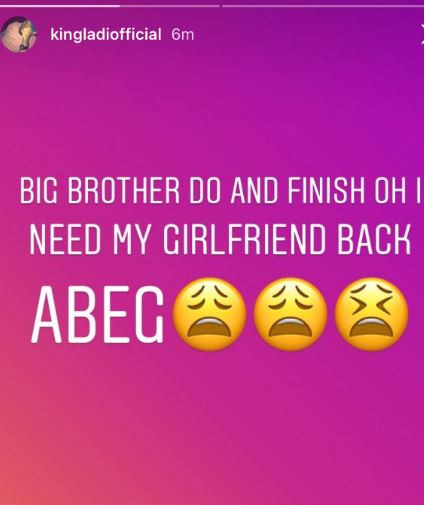 #BBNaija: I Need My Girlfriend Back — Tacha's Boyfriend Cries Out