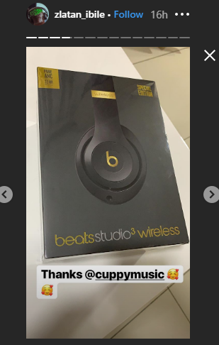 DJ Cuppy Gifts Zlatan Ibile An Expensive Headphone