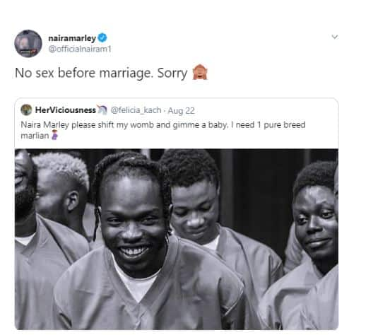 See Naira Marley's Reply To A Lady Who Asked Him To Impregnate Her