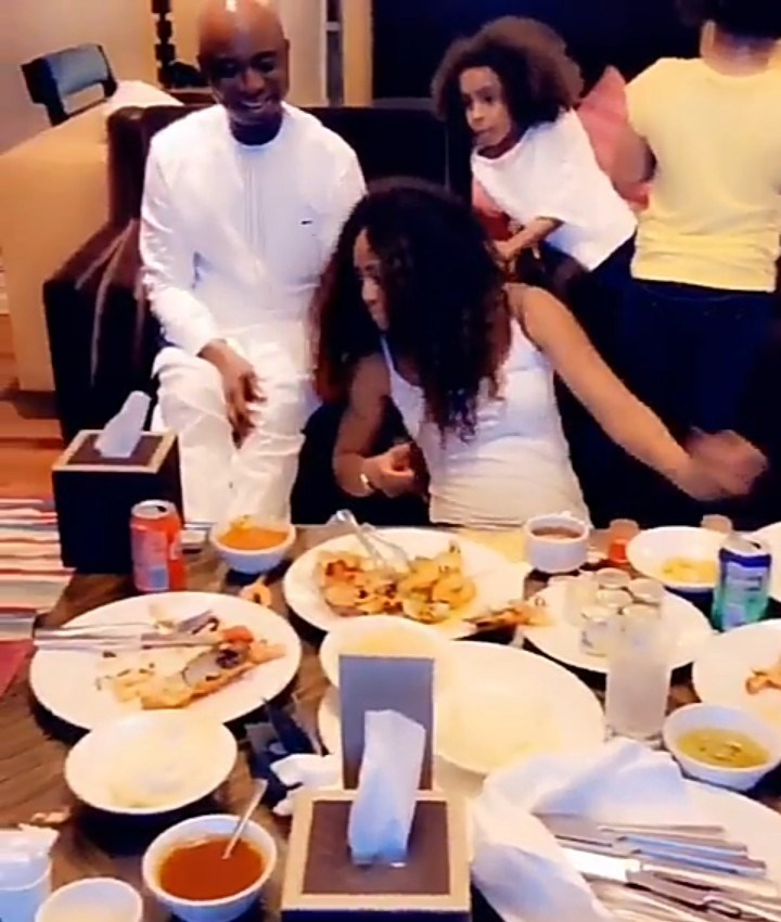 Ned Nwoko Tickles Regina Daniels As They Have Breakfast With His Kids (Video)