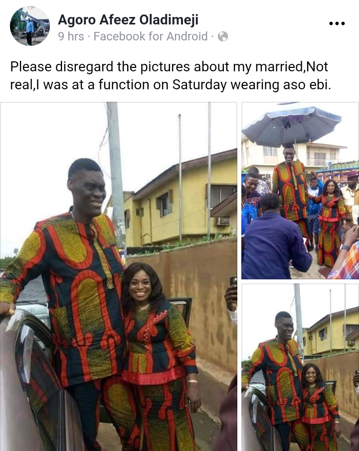 Nigeria's Tallest Man Denies Getting Married
