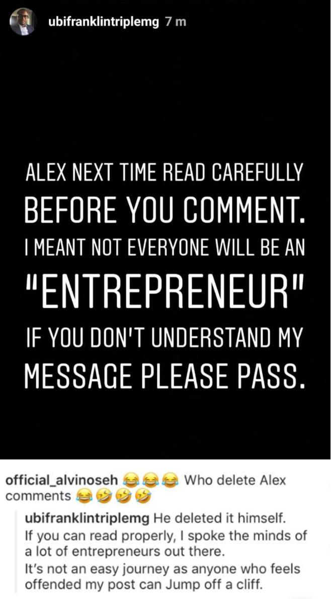 WAR COMING? Ubi Franklin Calls Alex Ekubo Out On Instagram 3