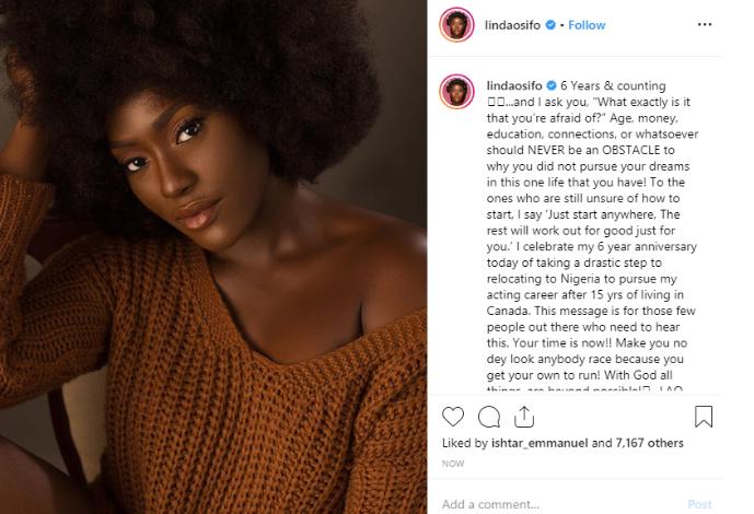Linda Osifo Celebrates 6th Year She Left Canada For Nigeria