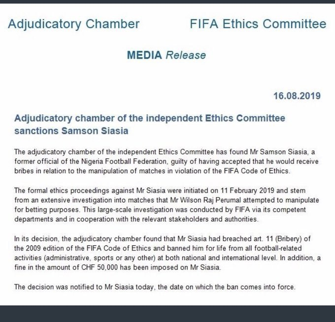 Nigerian Coach, Samson Siasia Banned for life by FIFA