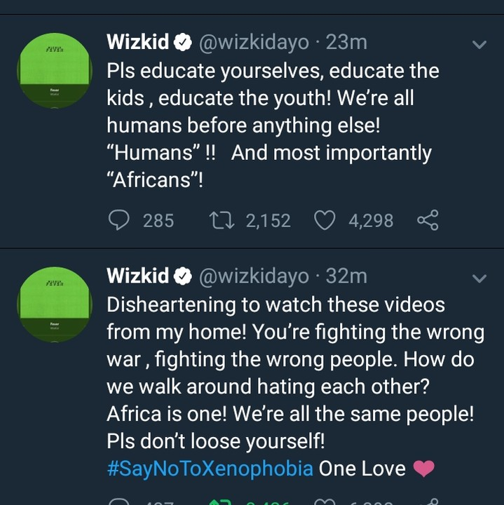 #Xenophobia: Wizkid Reacts To Attacks On Nigerians