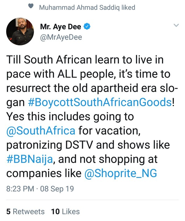 #Xenophobia: It's Time To Boycott Dstv, BBNaija And All South African Goods — Aye Dee