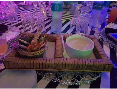 Garri And Fried Fish Served As Refreshment At A Wedding Reception In Lagos (Photo)