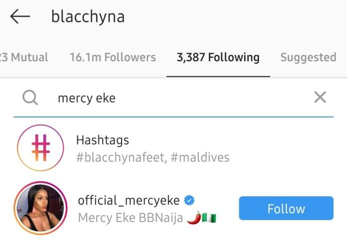 Blac Chyna Follows #BBNaija's Mercy On Instagram 6