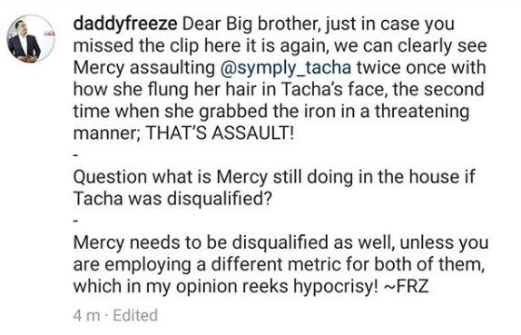 """""""Mercy Should Also Be Disqualified"""" — Daddy Freeze Tells Big Brother"""