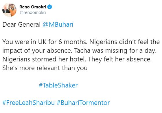 """Tacha Is More Relevant To Nigerians Than President Buhari"" —  Reno Omokri"
