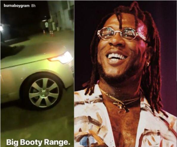 Burna Boy's Range Rover Autobiography Catches Fire (Photos)