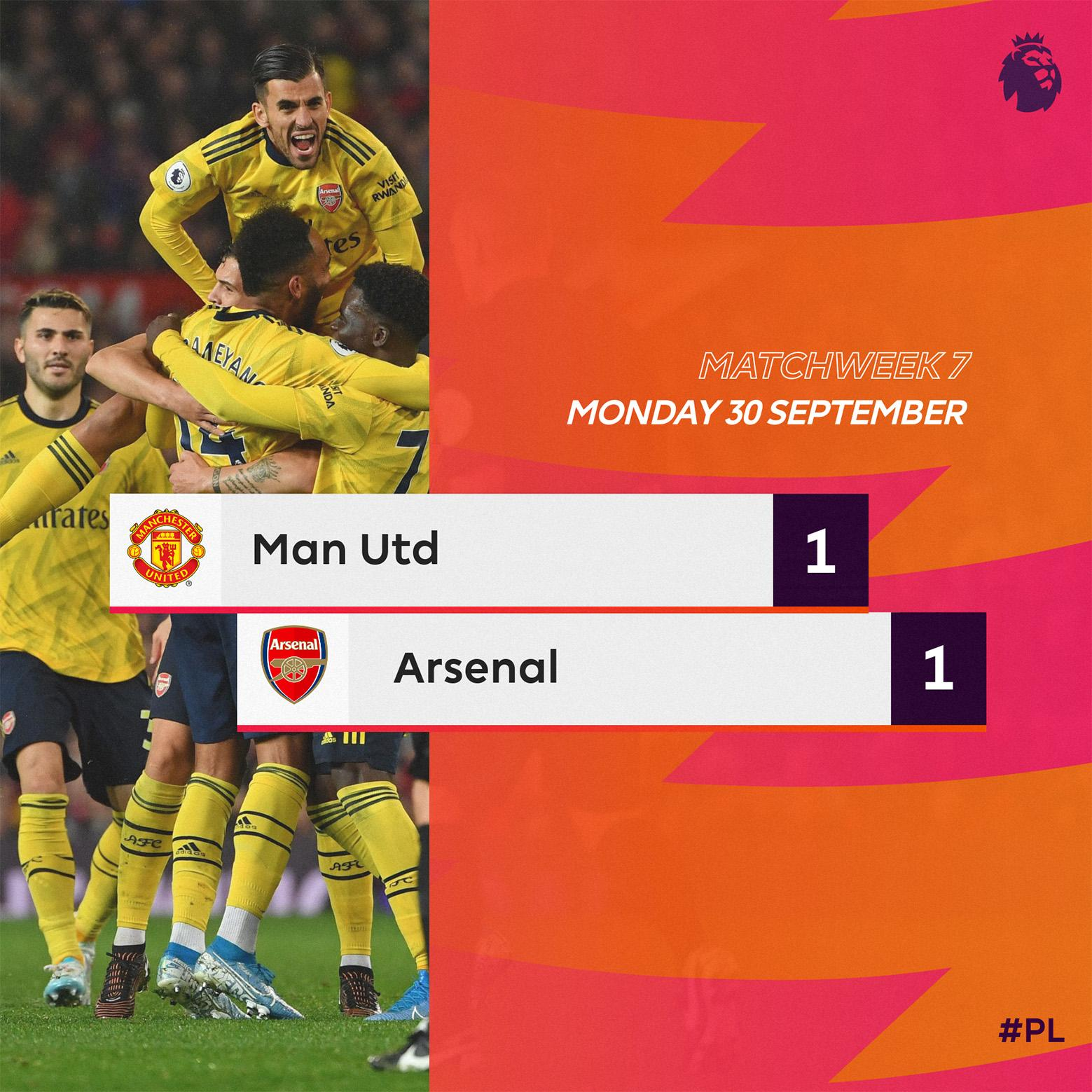 Manchester United 1 – 1 Arsenal — EPL Highlight