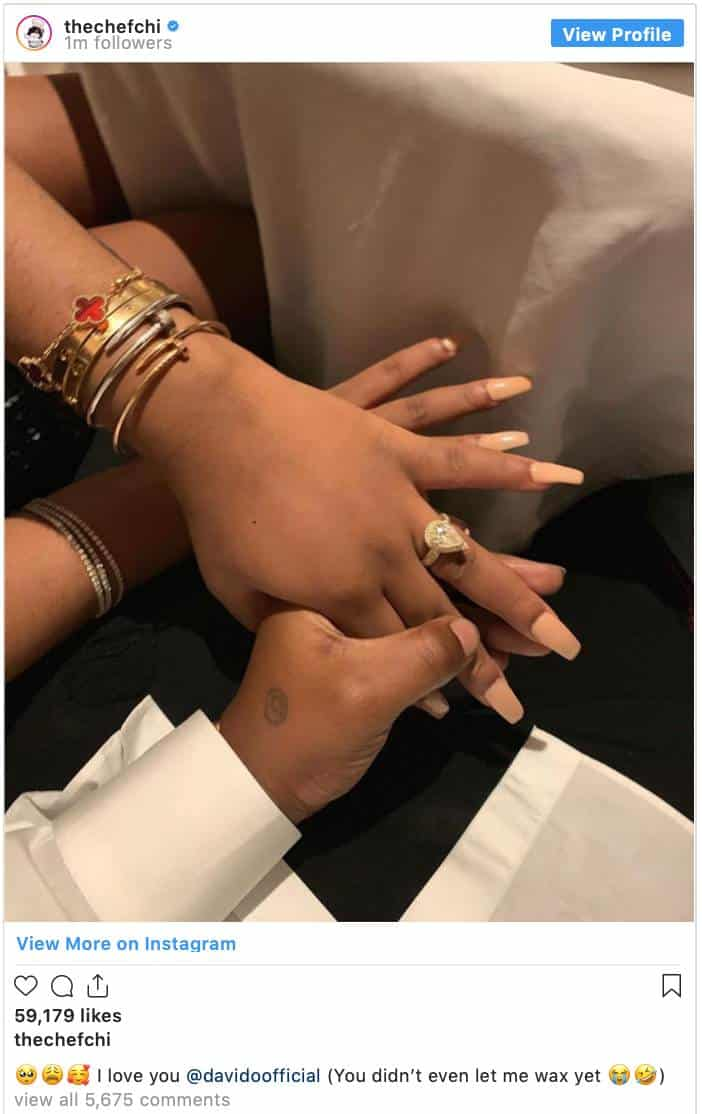 Chioma Reacts After Davido Proposed To Her