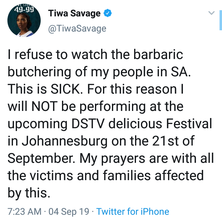 #Xenophobia: Tiwa Savage Cancels Her Upcoming Show In South Africa