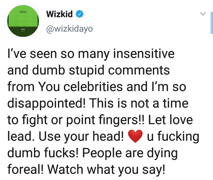 "#Xenophobia: ""You All Are Fvcking Dumb"" – Wizkid Blasts Burna Boy, AKA, M.I & Other Celebrities"