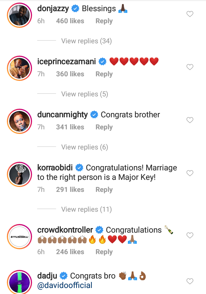 Celebrities Shower Love On Davido & Chioma After Their Engagement 11