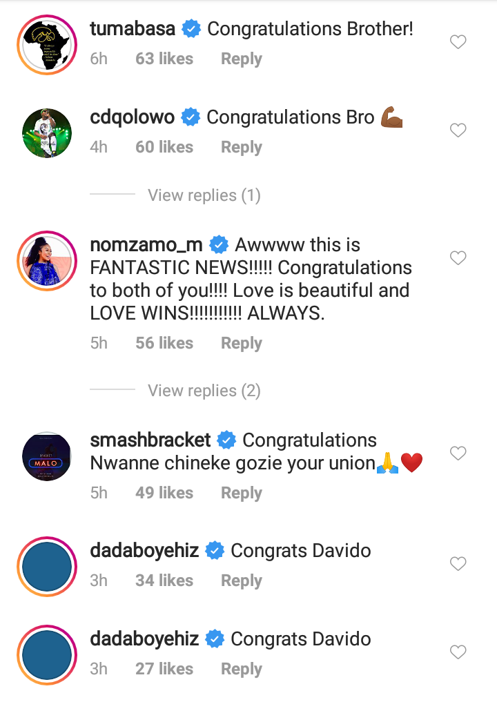 Celebrities Shower Love On Davido & Chioma After Their Engagement 13
