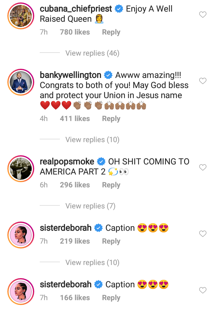 Celebrities Shower Love On Davido & Chioma After Their Engagement 14