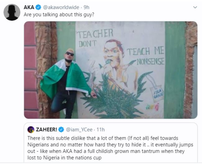 #Xenophobia: Nigerian Rapper YCee and South Africa's AKA 'Fight' On Twitter 9