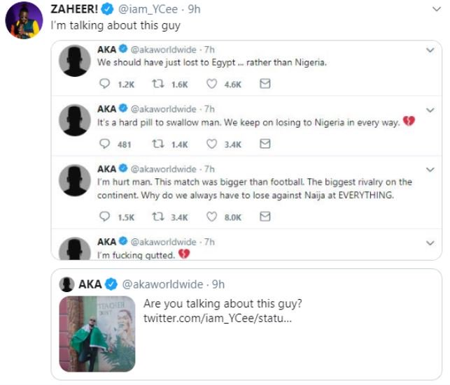 #Xenophobia: Nigerian Rapper YCee and South Africa's AKA 'Fight' On Twitter 10