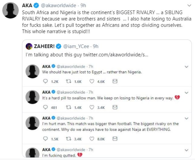 #Xenophobia: Nigerian Rapper YCee and South Africa's AKA 'Fight' On Twitter 11