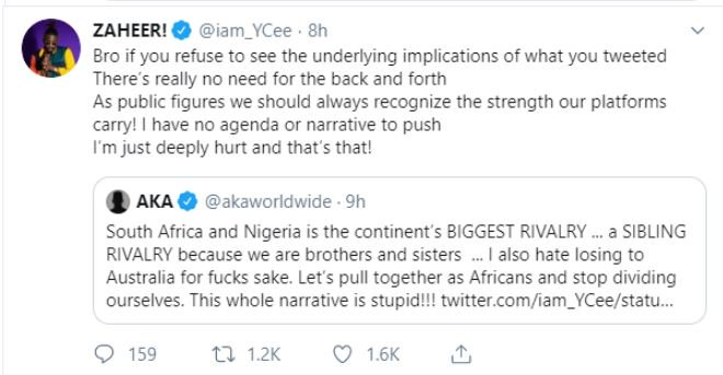 #Xenophobia: Nigerian Rapper YCee and South Africa's AKA 'Fight' On Twitter 12