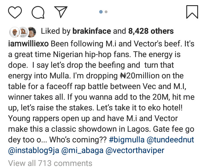 Willie XO Tables N20 Million For A Face Off Rap Battle Between M.I Abaga & Vector