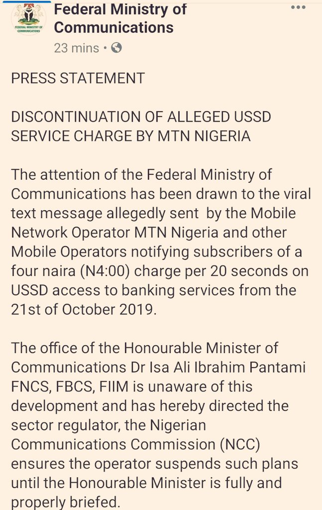 FG Rubbishes MTN's Plan To Charge N4 For USSD Transactions