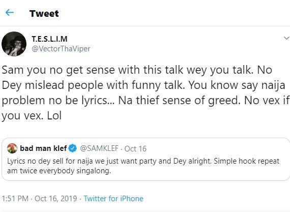 'You're Senseless' – Vector To Samklef
