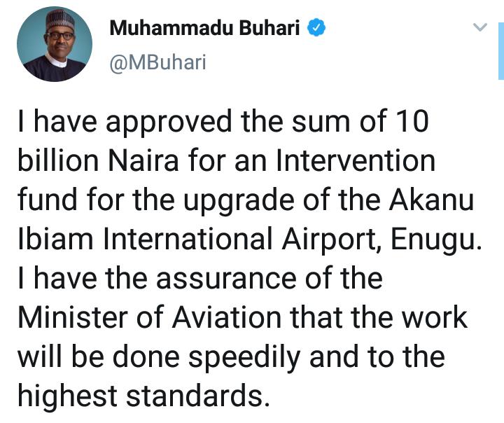 Buhari Approves N10billion for Upgrade Of Akanu Ibiam Airport Enugu