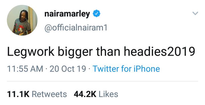"""Legwork Is Bigger Than Headies"" — Naira Marley 3"
