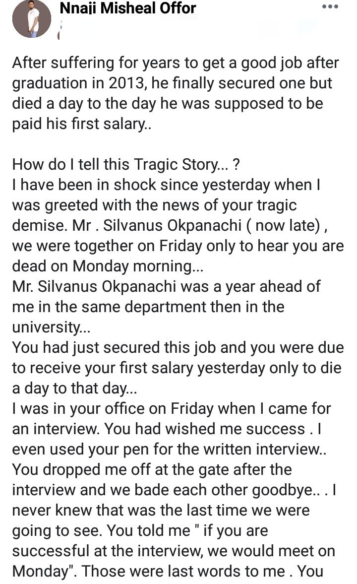 Man Who Searched For A Job For 6 Years Dies day Before He Was To Receive His First Salary At His New Job 11
