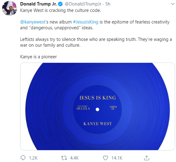 Donald Trump Jr Shares His Thought On Kanye West's New Jesus Is King Album 6