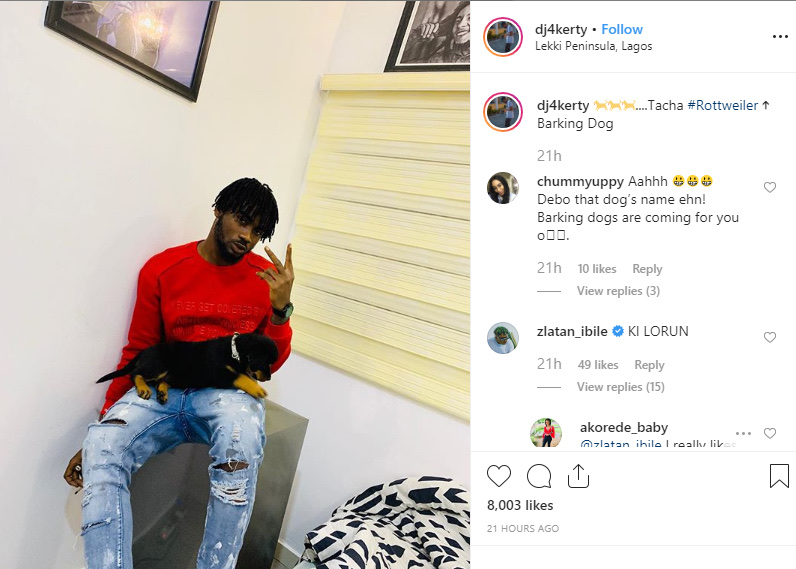 Zlatan Ibile Reacts As His DJ Names His Dog 'Tacha' 6