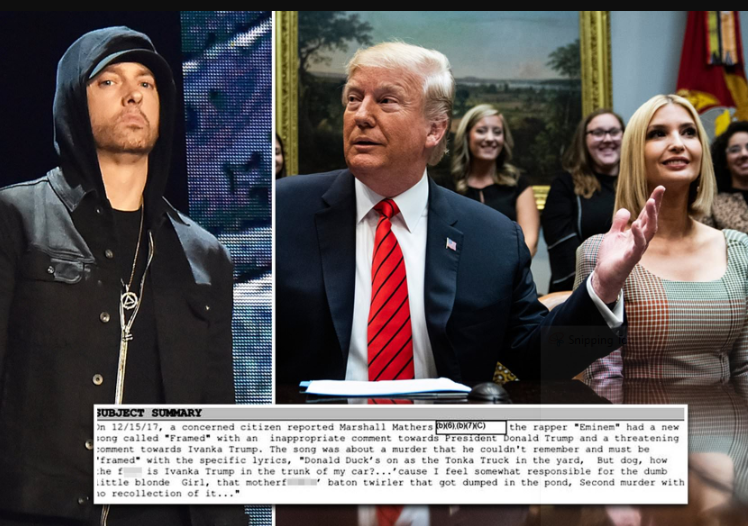Secret Service Agents Visited Eminem Over 'Threatening Lyrics' On His 2017 Album Against Trump And Ivanka 10