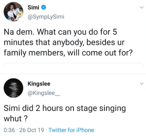 Between Simi And A Fan Who Questioned Her Ability To Perform For 'Two Hours' 3