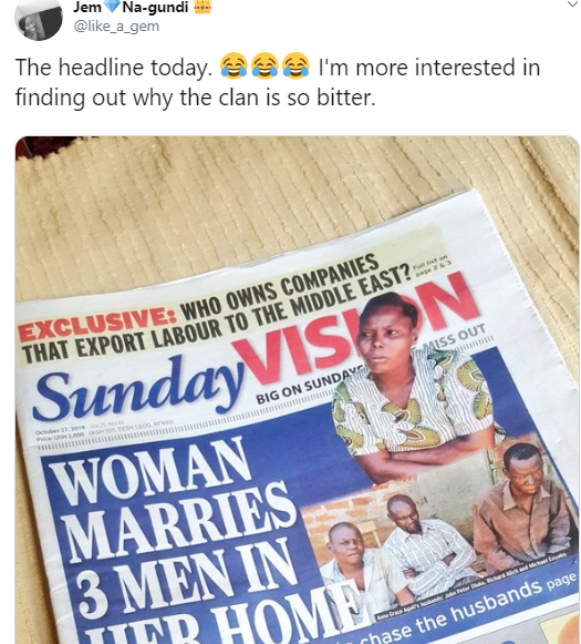 A Woman Who Married 3 Husbands Trends On Twitter As She Makes Front Page Of A Newspaper 11