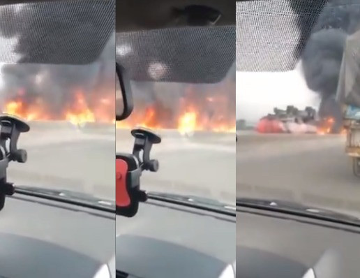 Petrol Tanker Burning Along Lagos - Ibadan Expressway 3
