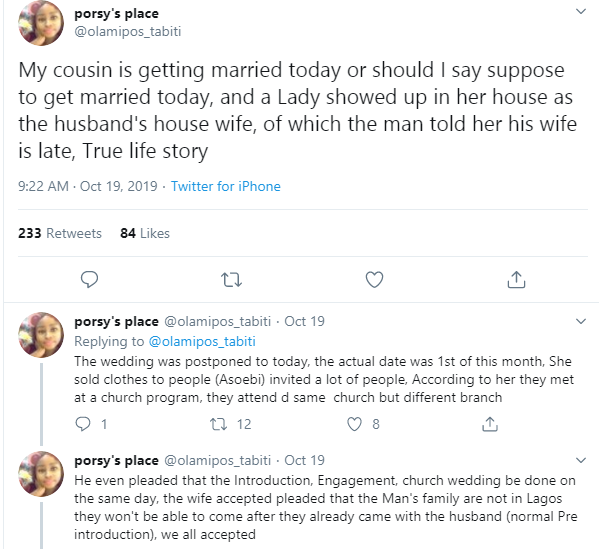 """Dead' Wife Showed Up A My Cousin's Wedding -Twitter User Narrated What Happened At Her Cousin's Wedding 3"