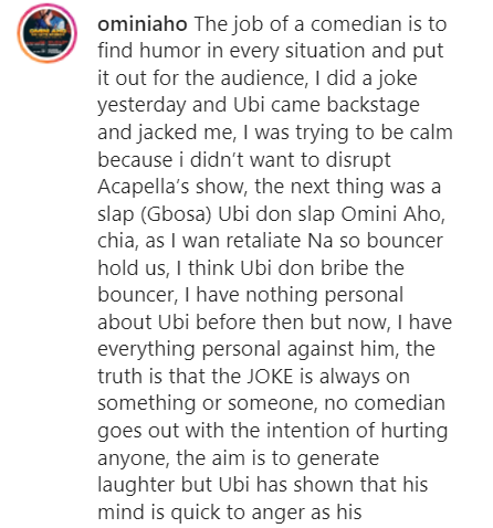 Ubi Franklin Jacked And Slapped Me Backstage For Making A Joke About Him - Comedian, Omini Aho Cries Out 6