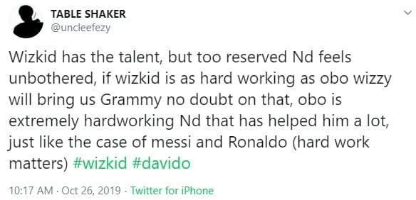 """Wizkid Has Talent, But Not As Hardworking As Davido"" — Twitter User"