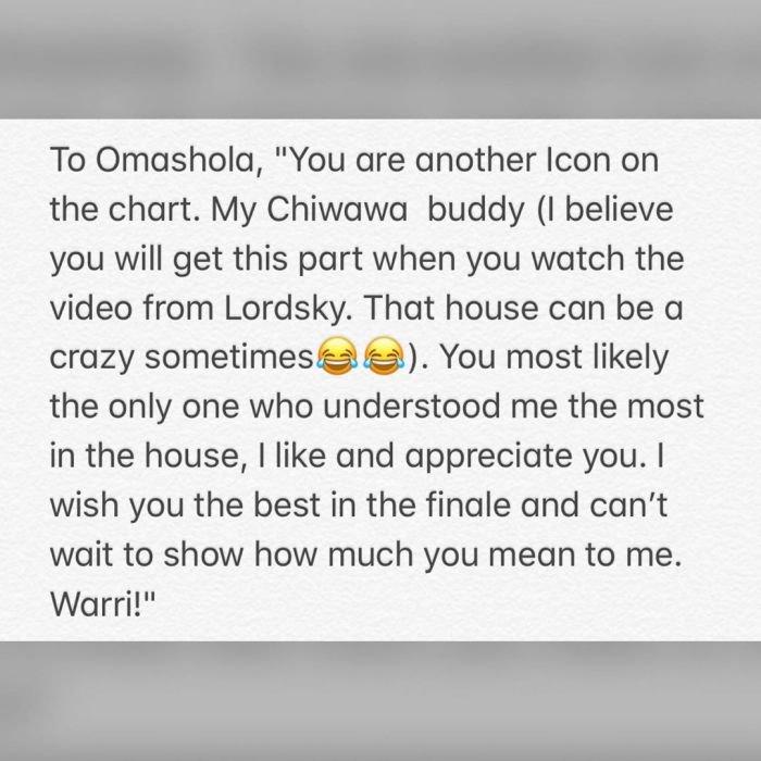 #BBNaija: Tacha Sends Message To The Last 5 Housemates (Read) 11